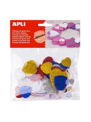 Bolsa 50 formas adhesivas goma eva Apli Corazones purpurina