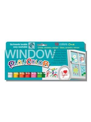 Estuche 12 témpera sólida Playcolor One  Window colores surtidos