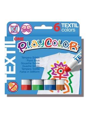 Estuche 6 témpera sólida Playcolor OneTextil colores surtidos
