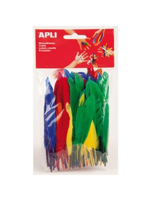 Bolsa 100 plumas Apli colores surtidos