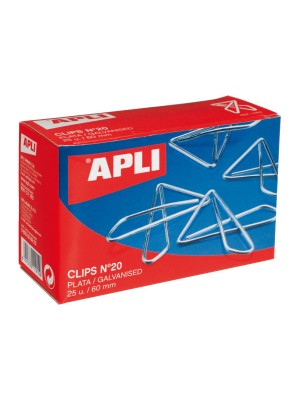 Caja 25 clips mariposa Apli nº20
