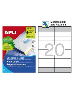 Caja 100h. etiquetas Apli para inkjet, láser y fotocopiadora. Cantos rectos aptas h.acienda 105x29mm.. 2000 etiquetas