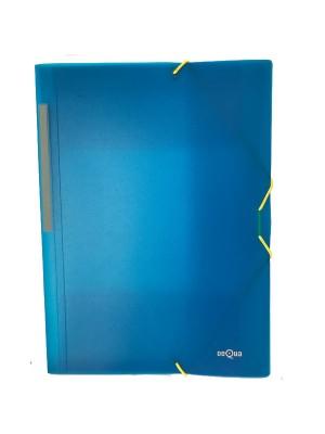 Carpeta Dequa PP translúcido. Con gomas y 3 solapas Folio Azul