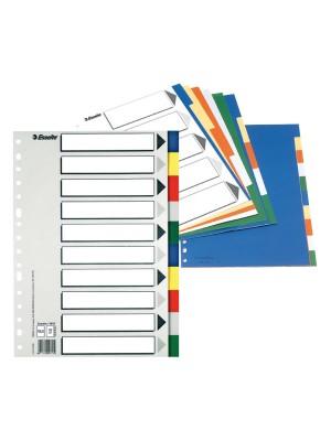 Separadores Esselte Multitaladro PP 10 posiciones Colores surtidos
