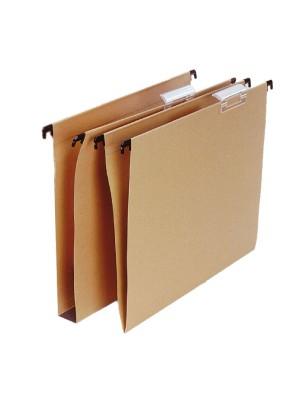 "Carpetas colgantes Grafoplas Visor superior Varilla plástico Lomo en ""V"" A4 Kraft Pack 25u."