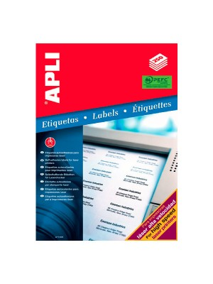 Caja 250h. etiquetas Apli para impresora láser alta velocidad 210x297mm. 250 etiquetas
