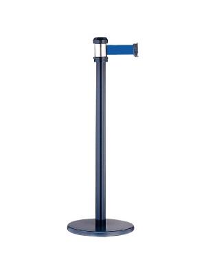 Poste separador con cinta retráctil ø32,5x93cm. Longitud cinta 2m. Azul