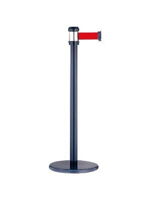 Poste separador con cinta retráctil ø32,5x93cm. Longitud cinta 2m. Rojo