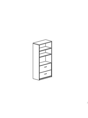 Armario carpetero con 2 cajones para archivo 90x195x45cm. Incluye 2 estantes. Blanco/Blanco