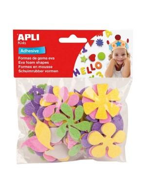 Bolsa 48 formas adhesivas goma eva Apli Flores purpurina