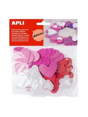 Bolsa 52 formas adhesivas goma eva Apli Corazones purpurina