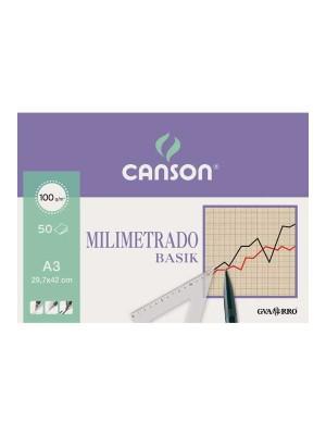 Bloc encolado papel milimetrado Canson Basik 50h 100g A3