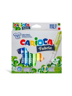 Estuche 12 rotuladores textiles Carioca Fabric Textil colores surtidos