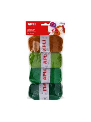 Bolsa 4 ovillos de lana Apli 50g tonos verde