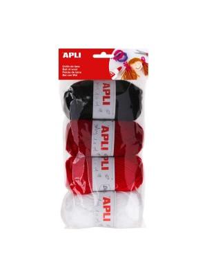 Bolsa 4 ovillos de lana Apli 50g tonos rojo