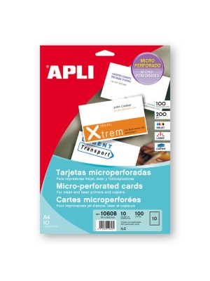 Tarjetas visita Apli microperforadas 200g. 90X50,8mm. 100u.