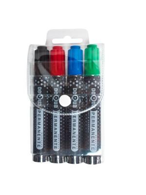 Blíster 4 marcadores permanentes Dequa azul, negro, rojo y verde