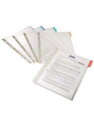 Fundas multitaladro para clasificador Function con pestaña de color A4 Pack 5 fundas. Transparente