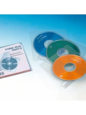 Pack 10 fundas CD Grafoplas con solapa y sin taladros