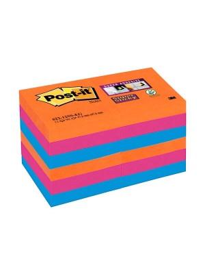 Pack 12 blocs notas Post-it Super Sticky 47,6x47,6mm. Bangkok