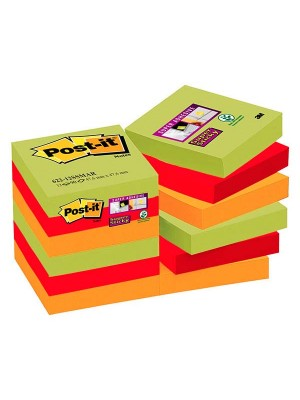 Pack 12 blocs notas Post-it Super Sticky 47,6x47,6mm. Marrakesh