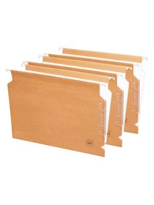 "Carpetas colgantes Gio Visor lateral Varilla metálica Lomo en ""V"" A4 Kraft bicolor Pack 25u."