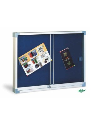 Vitrina tapizada Faibo con puertas de metacrilato 90x120cm azul