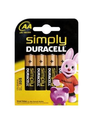 Blíster 4 pilas Duracell Simply larga duración AA