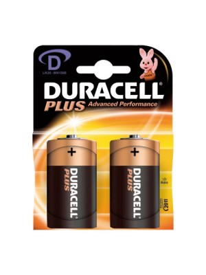 Blister  2 pilas alcalinas Duracell Plus para uso intensivo LR20 tipo D