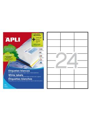 Caja 100h. etiquetas Apli para inkjet, láser y fotocopiadora. Cantos rectos 70X37mm. 2400 etiquetas