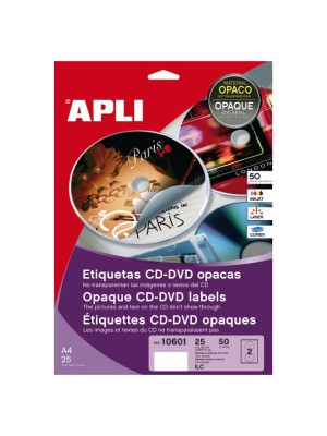 Pack 25h. etiquetas Apli para inkjet láser y fotocopiadora CD-DVD opacas. 50 etiquetas