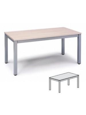 Mesa rectangular Serie Executive 120x60x72-77cm. Alumino/Haya