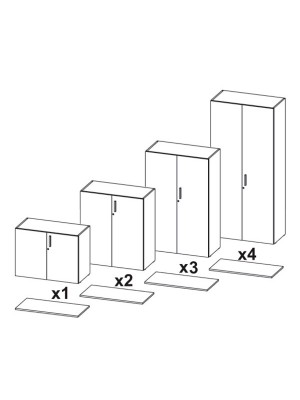 Armario puertas completas 70x45x90cm. Incluye 1 estante. Blanco/Roble