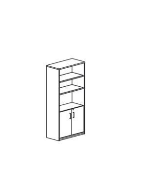 Armario puertas bajas 90x195x45cm. Incluye 4 estantes. Blanco/Blanco
