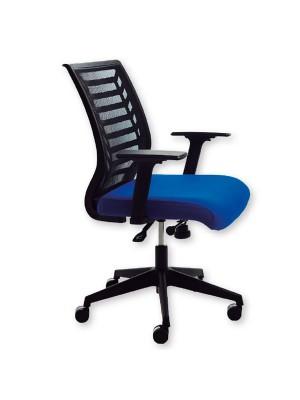 Silla operativa Belanova tapizado en tela ignífuga con respaldo de malla. Mecanismo basculante. Incluye brazos. Azul