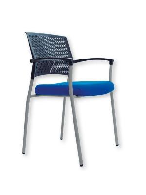 Silla confidente Clapton asiento tapizado y respado de malla en polímero técnico. Con brazos. Azul