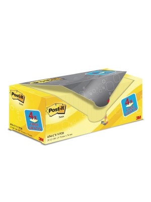 Pack ahorro notas Post-it 76x76mm. 16+4 GRATIS Amarillo
