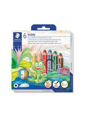 Estuche 6 lápices de colores extra grueso Staedtler Buddy 140 colores surtidos