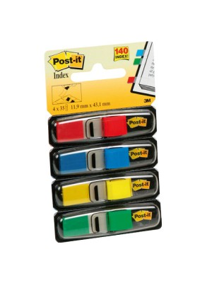 Dispensador Post-it Index  pequeños 12x43,1mm. 35 índices x color:  Verde, Amarillo, Azul y Rojo