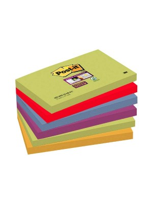 Pack 6  blocs notas Post-it Super Sticky 76x127mm. Marrakesh