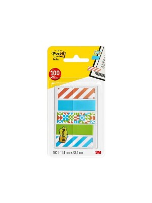 Dispensador Post-it Index pequeños 11,9x43,2mm. decorados 20 índices x diseño: 5 modelos rayas